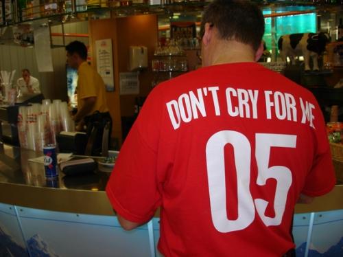 """""""Don' cry for me Argentina"""", ou un humour british de circonstance (photo N. Deltort)"""