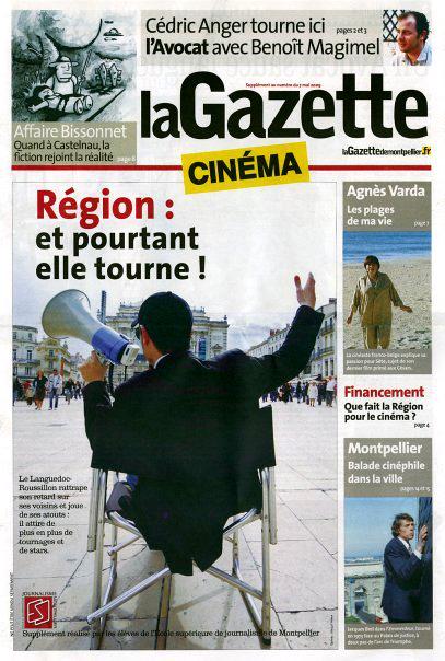 Une de couv, supplément cinéma de La Gazette de Montpellier (photo Margot Valeur)