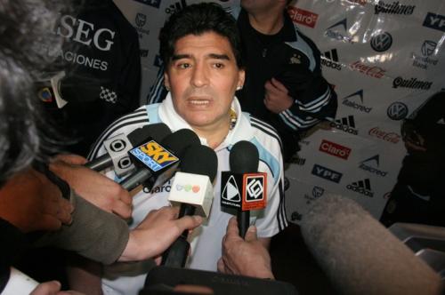 Diego Maradona, le sélectionneur argentin (photo N. Deltort)
